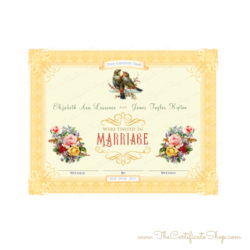 Decorative Marriage Certificate - Yellow Frame with Birds
