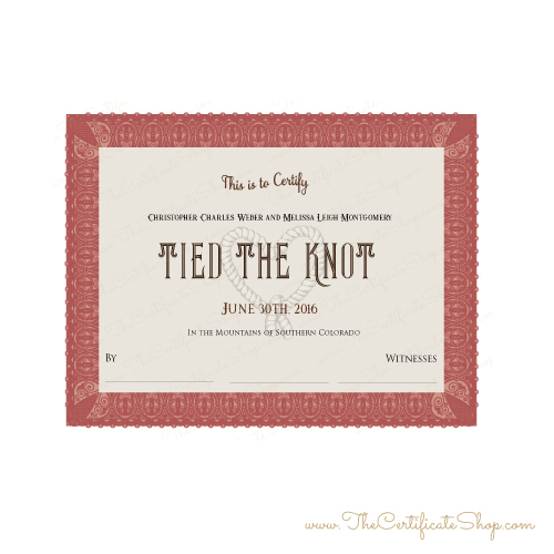 Tied the Knot Marriage Certificate