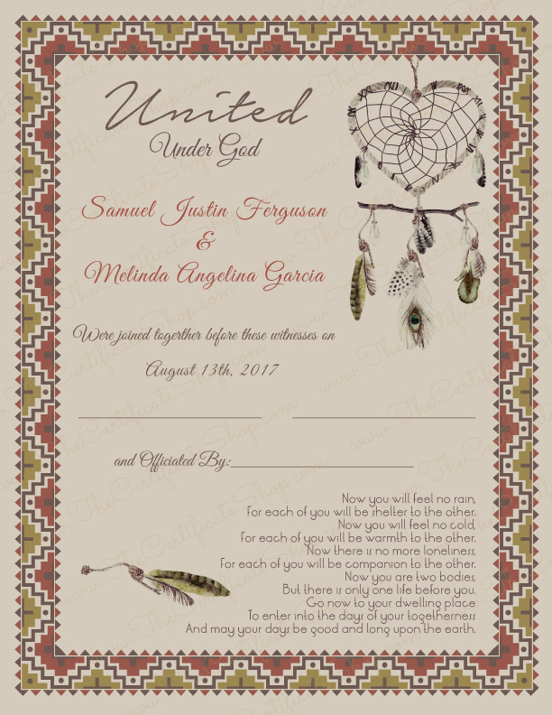 Design 04 Southwestern Marriage Certificate The Certificate Shop