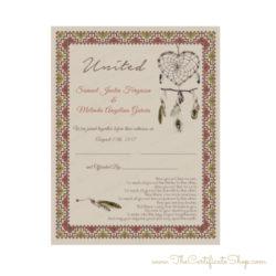 Native American Wedding Certificate