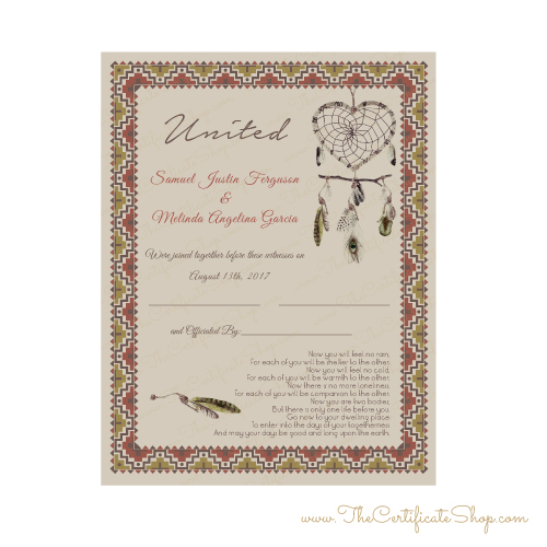 Design   Southwestern Marriage Certificate  The Certificate Shop