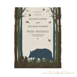 Bear and Squirrel Decorative Marriage Certificate