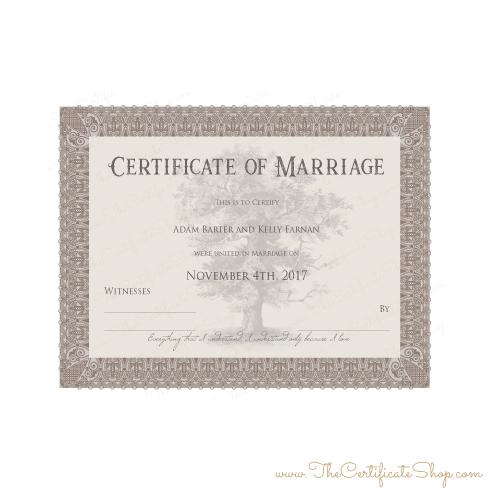Oak Tree Wedding Certificate