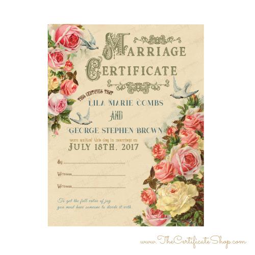 Victorian Wedding Certificate