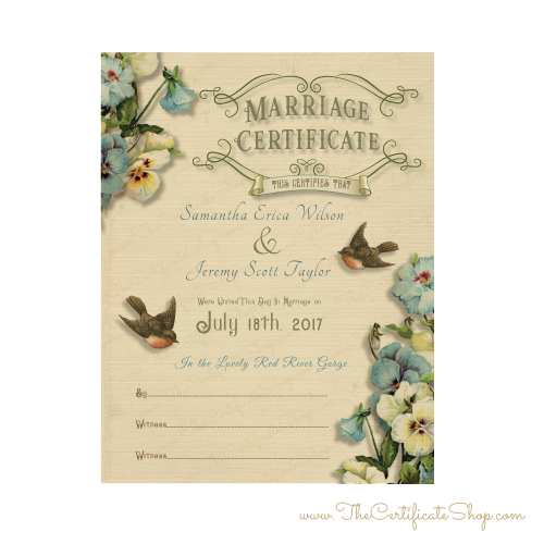 Vintage Marriage Certificate with Birds