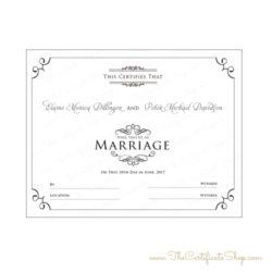 Simple Wedding Certificate
