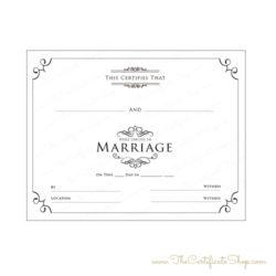 Plain Wedding Certificate