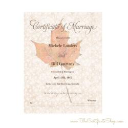 Fall Themed Keepsake Marriage License