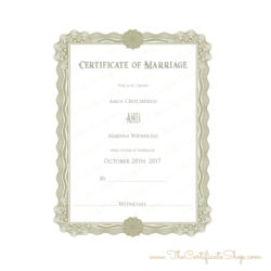 Fancy Gold Border Wedding Certificate