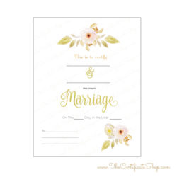 Watercolor Wedding Certificate
