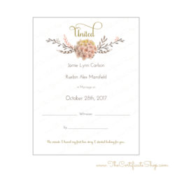 Creative and Simple Wedding Certificate