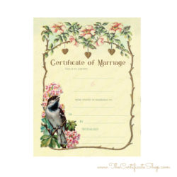 Pretty Vintage Certificate of Marriage