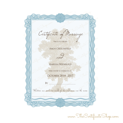 decorative marriage license with nature